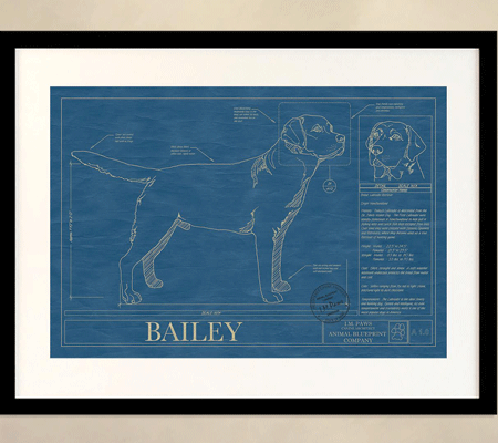 Animal blueprint custom dog breed wall art modern dog magazine their latest versions even allow you to customize your print with your own pups name blueprint malvernweather Gallery