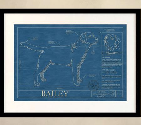 Animal blueprint custom dog breed wall art modern dog magazine blueprint malvernweather Gallery