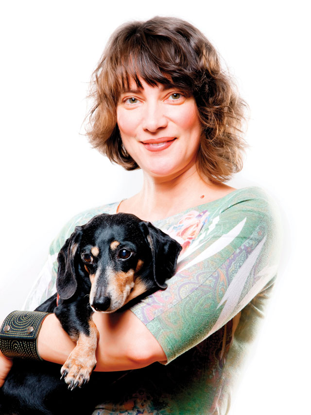 Buddy Belts Founder Roxanne and her Miniature Dachshund, Buddy