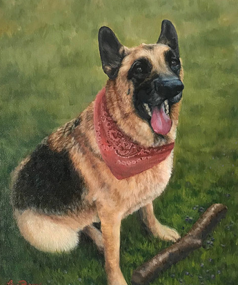 Painting of a dog by Lisa Bane