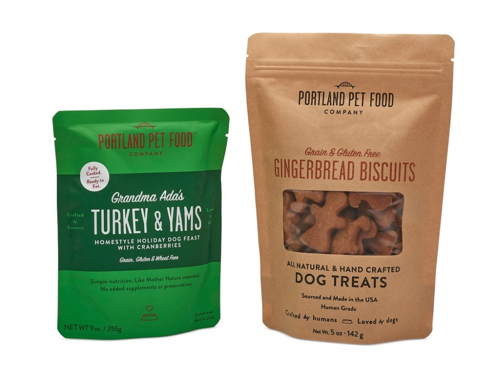 Portland Pet Food Company's Holiday Pack with turkey and yams meal pouch and gingerbread biscuits