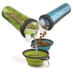 Snack Duo Dual Chamber Dog Food Water Bottle