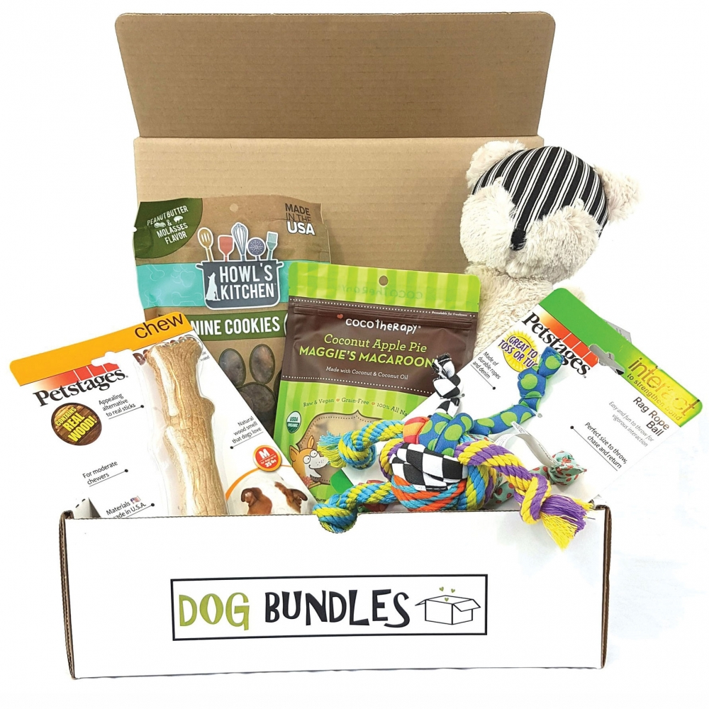 new toys, dog bundles in a subscription box