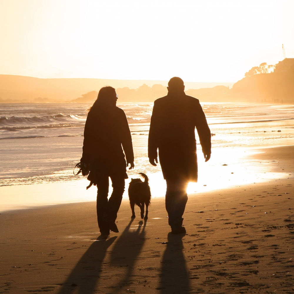 man and woman going for a walk on the beach with their dog