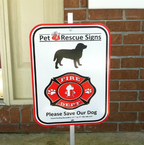 Outdoor Pet Fire Rescue Sign