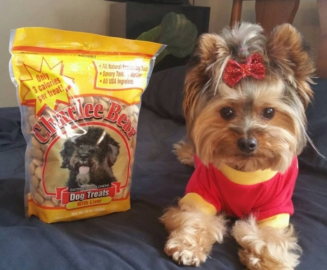 "Deneen H. says, ""Romeo loves his Charlee Bear treats!"""
