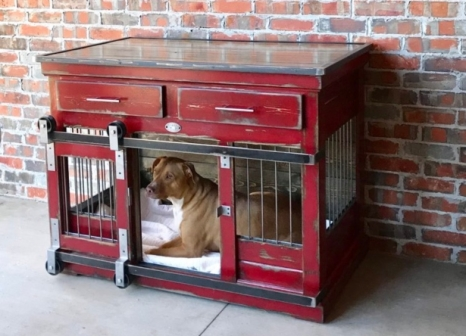 Kennel & Crate - Red Distressed, Single XL, Drawers, Colorado