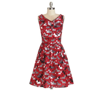 Scottie-dog-print dress from ModCloth