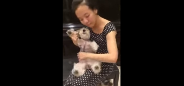 """Woman """"Plays"""" Her Pup Like a Musical Instrument"""