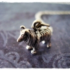 Tiny Silver Collie Dog Necklace